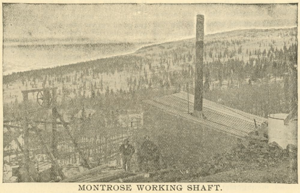 A really bad view but the only I know of this mine [as per 12.01.2017]. There is a small head frame in lower left, with a few people posing near the hoist house. There is a smokestack on the building so I presume it was a coal fired hoist inside, and there seem to be a tank of some sort, most likely a water-tank on the back of the structure.