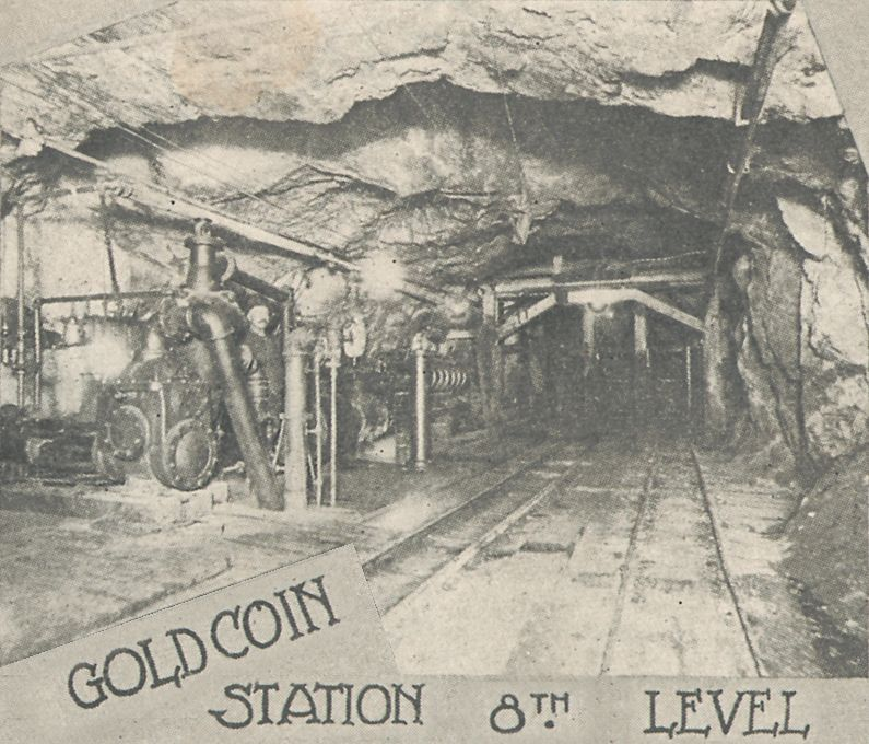 This underground view is from the 8th level of the Gold Coin Mine in Victor. It appears there is a pumping station down here to keep water from flooding the mine and its lower levels, an ongoing problem as depth was gained in the mines in the District.