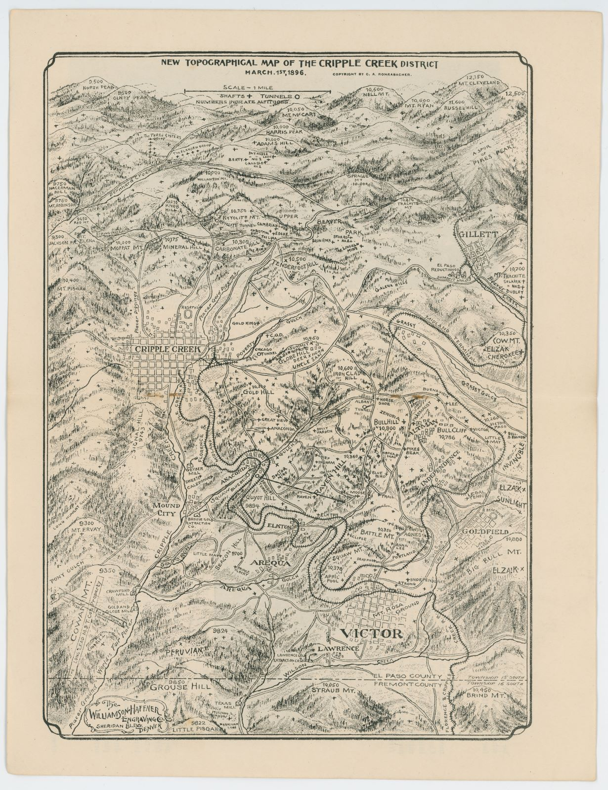 Newest Topographical Map of the Cripple Creek District, Dated March 1, 1896