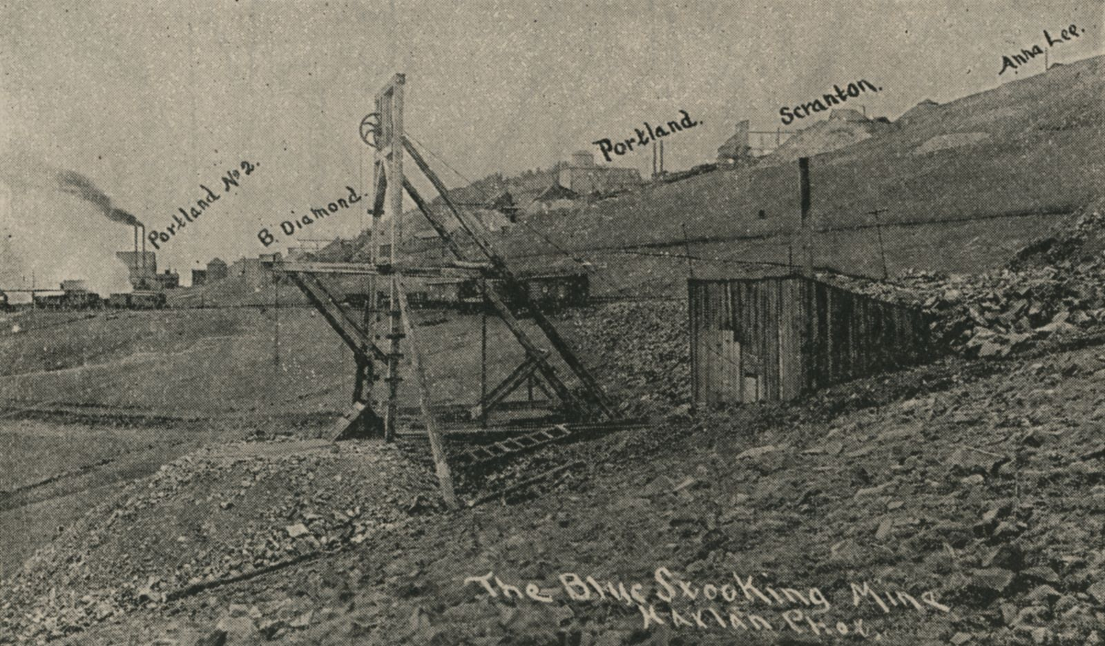 The Blue Stocking Mine | Battle Mountain, Showing Portland, Portland No. 2, Anna Lee, Scranton, Black Diamond and the Blue Stocking.