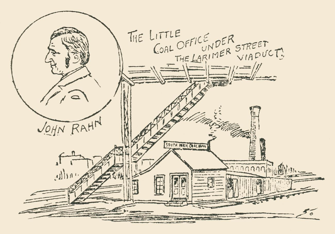 Line Drawing of John Ranh and his little Coal Office under the Larimer Street Viaduct, Denver