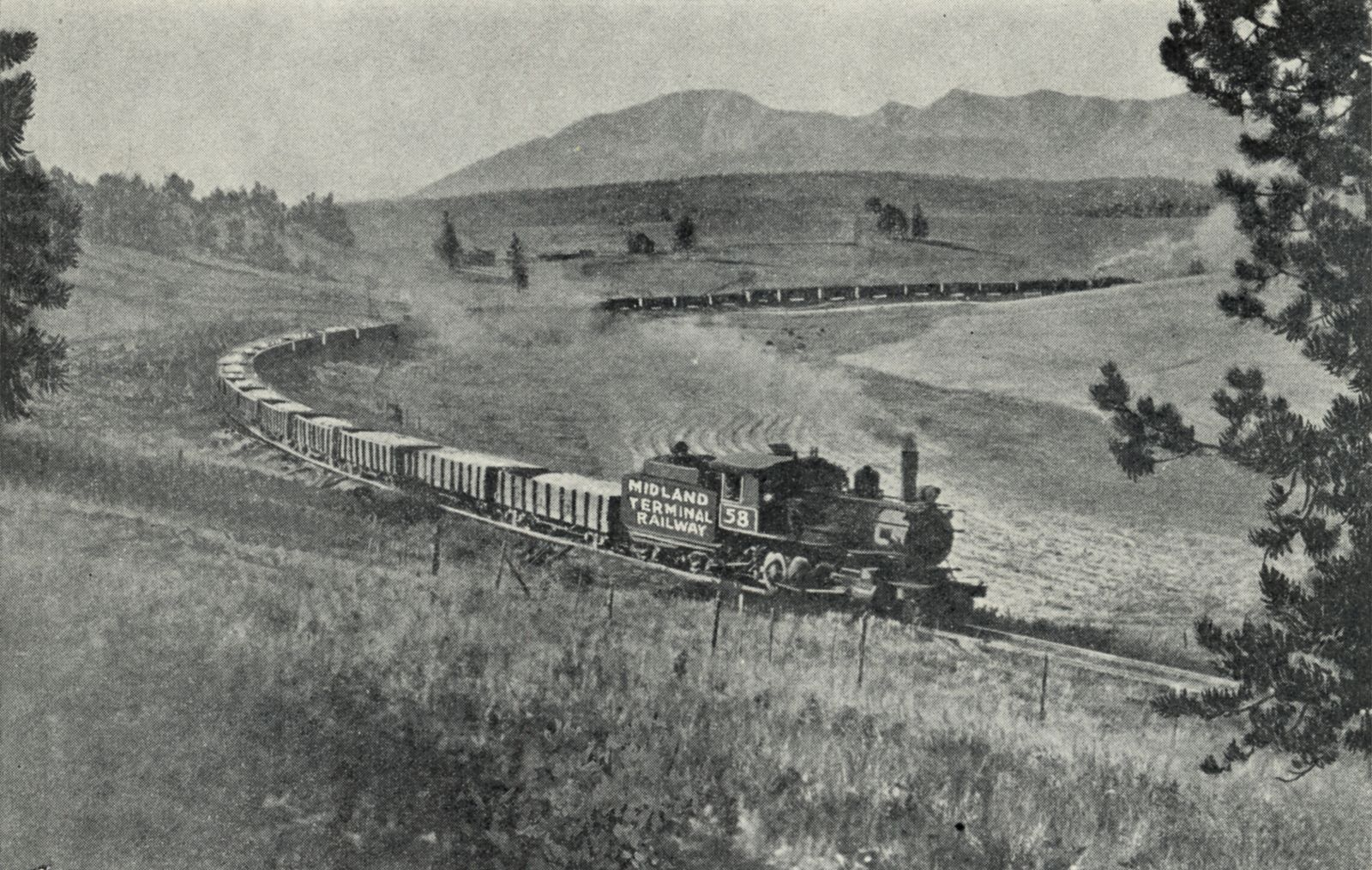 ORE TRAIN en route from Cripple Creek District to the Golden Cycle Mill over the Midland Terminal Railway, wholly owned subsidiary of The Golden Cycle Corporation.