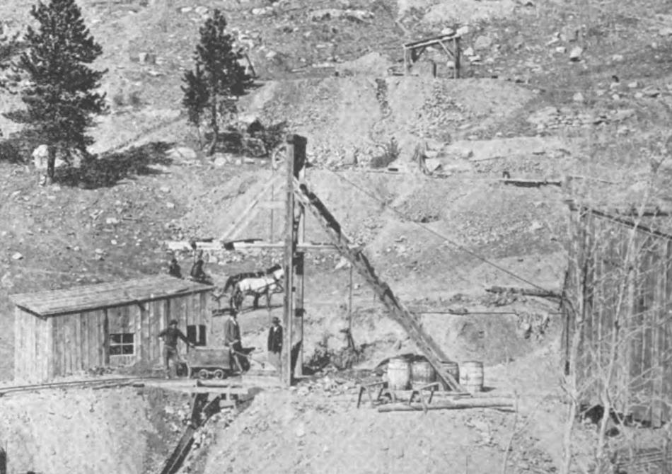 This view on the south slope of Squaw Mountain, is a cropped view of a larger one showing early mine operations on at least 3 claims, where the Climax mine is among those. The head frame mine I think is known as Climax No. 2 as that name is mention as part of the title to the full image in an 1896 book.