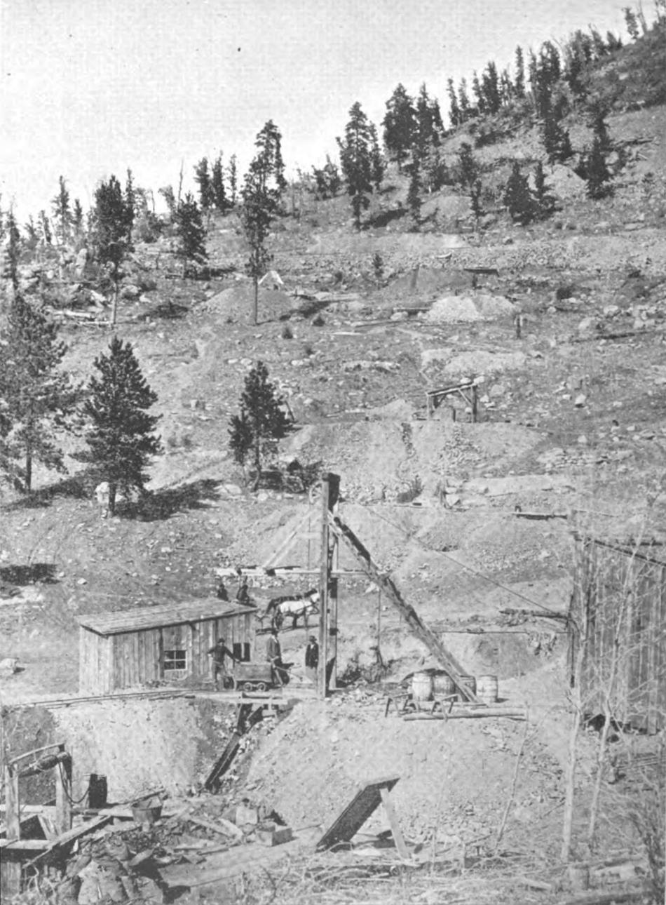 This is a view of the south slope of Squaw Mountain, showing early mine operations on at least 3 claims, where the Climax mine is among those. The mine in the foreground I think is known as Climax No. 2 as it is located on the Climax No. 2 lode, which was below Climax No. 1 lode. The Santa Rita lode cuts through the former mention claims, but which of the mine operations is on that claim is hard to make out.    About 1/4 from the top there is a railroad grade, which I think is the F. & C.C. grade. Further up, about half-way to the top of the image I think the M.T. roadbed is seen on the right-hand side of this view.    Between the two railroad grades, when looking at the DPL view, I see about 1/6 from right-hand side and same from top, what appears to be a adit opening and a small dump is seen in front of it among the trees. This do not show up on either the Climax or Santa Rita claim maps. There is a shaft mention on the Climax maps, inside the ground that is part of the Santa Rita claim, it might be that. This due to the photo shows a second dump and a small open single slope shed a little more to the left and further down the hill, above the lower railroad grade, and that shed/dump fits as the Discovery shaft on the Santa Rita claim map.    But, from below the railroad grade, nothing fits the known claim maps, as there should be a Tunnel with a Tunnel House and an ore bin in that area for the Climax lodes, and nothing like that is seen in this view. Of course, they can be gone be the time this view was made, or possible it is outside the view, I do not know, all I know is that this view is marked as showing the Santa Rita and the Climax No. 2 mines in an 1896 book.