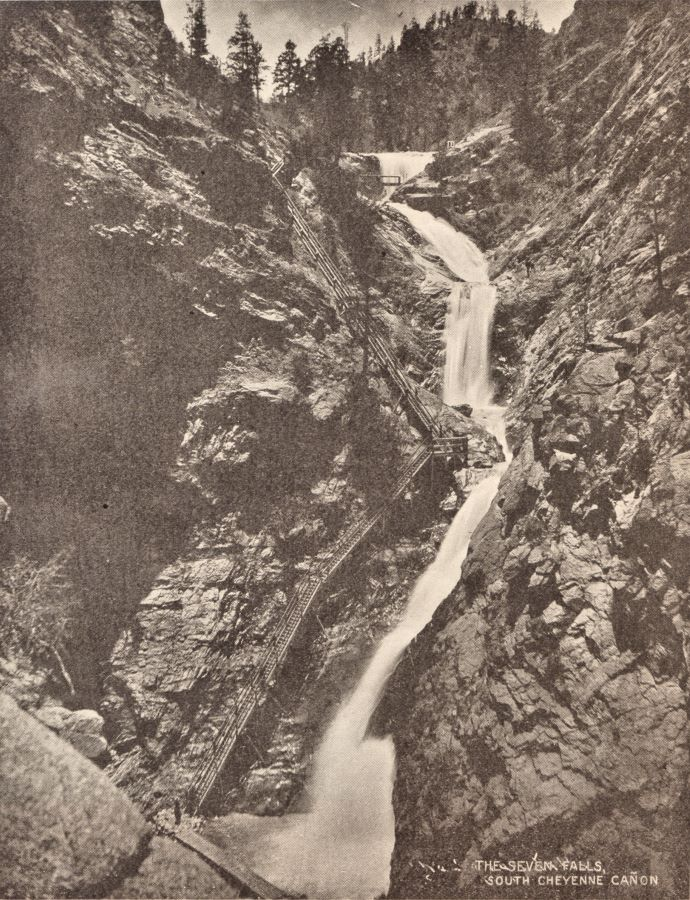 View of the Seven Falls in Soutch Cheyenne Canon