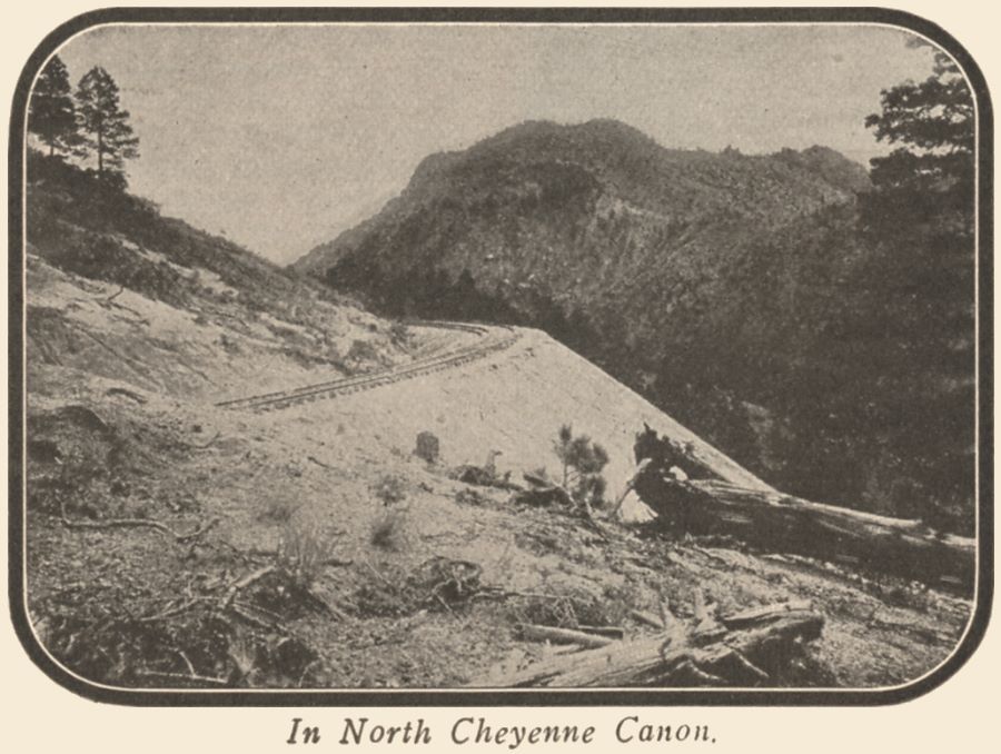 View of Short Line roadbed clinging on the mountainside in North Cheyenne Canon