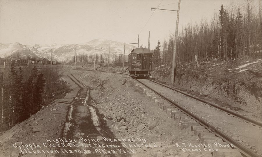 Highest Point Reached By Cripple Creek District Electric Railroad, Elevation 11200 Ft. - Pike's Peak in Background, Photo: A.J. Harlan