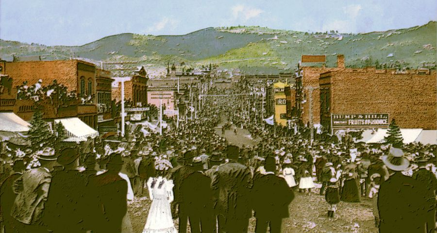 View of lot of people gathering along Bennett Avenue, Cripple Creek