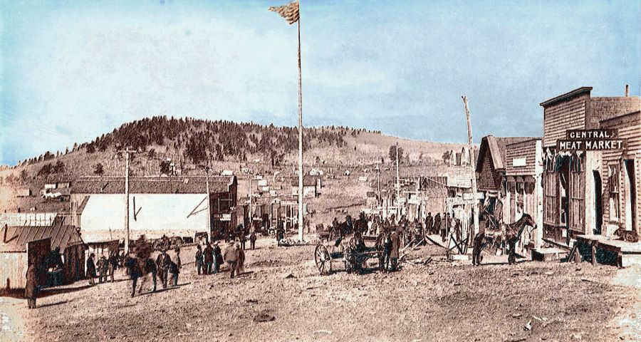 Early view looking West along Main Street of Cripple Creek
