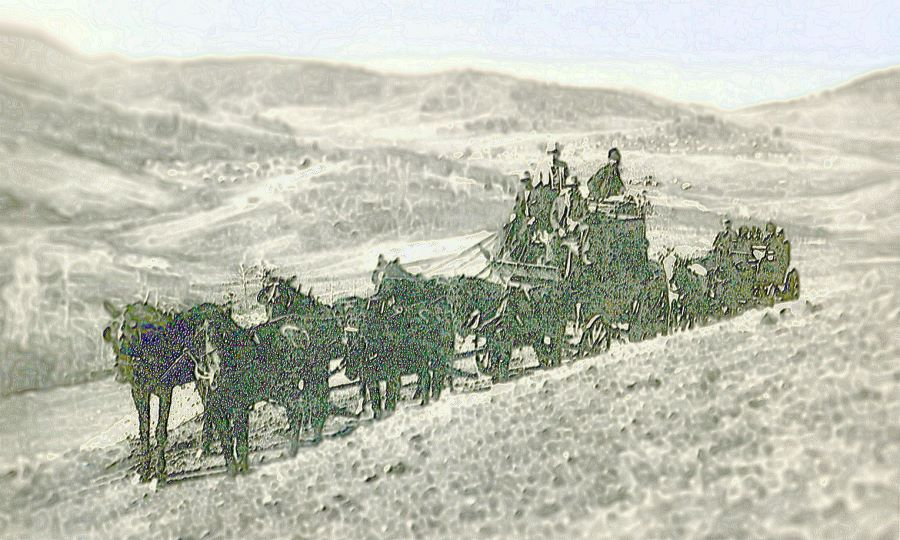 View of the Hundley Stages leaving Cripple Creek over Tenderfoot Hill around 1894