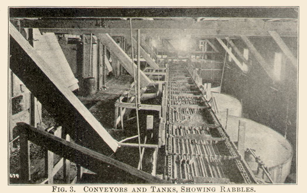 Conveyors and Tanks, Showing Rabbles. Interior View at the Arequa Mill and Its Cyanide Plant.