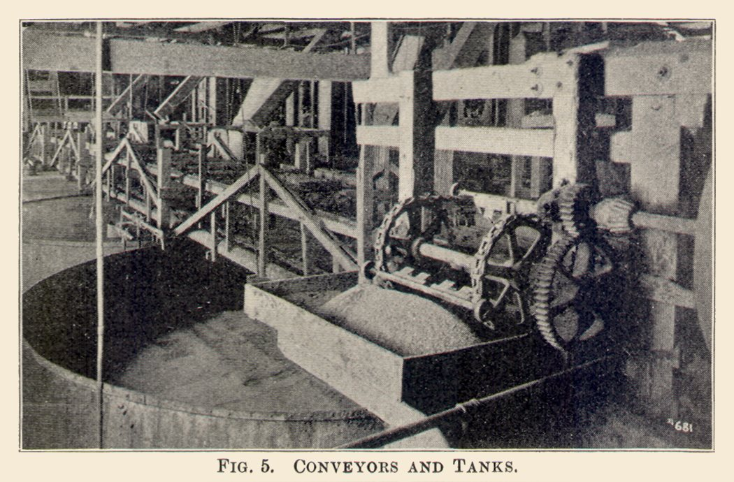 Conveyors and Tanks. Interior View at the Arequa Mill and Its Cyanide Plant.
