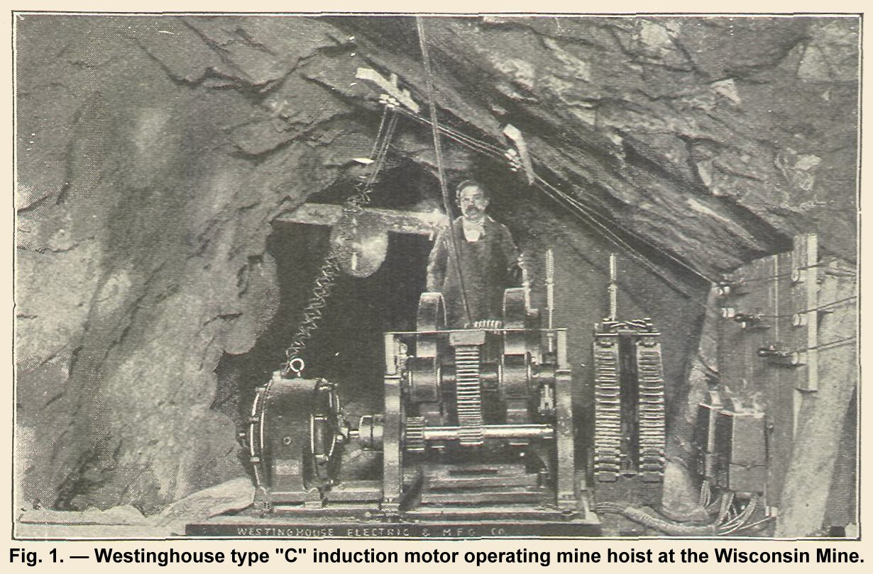 Westinghouse Type ''C'' Induction Motor Operating a Mine Hoist of the Wisconsin Mine, Cripple Creek.