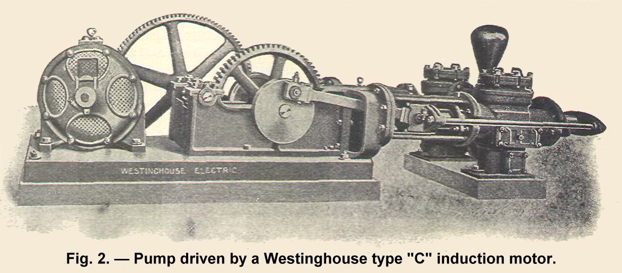 Pump driven by Westinghouse type ''C'' induction motor.