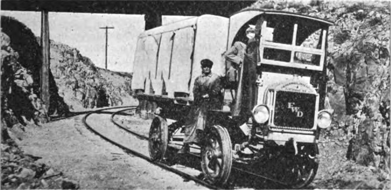 Motor-Truck for Carrying Miners to and From Cresson Mine - Just After Passing Under the Short Line Crossing at Outskirts of Cripple Creek Town