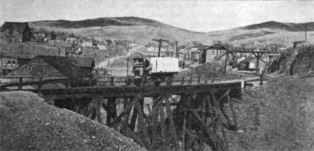 Motor-Truck for Carrying Miners to and From Cresson Mine - Crossing the Trestle Across Poverty Gulch on Midland Terminal