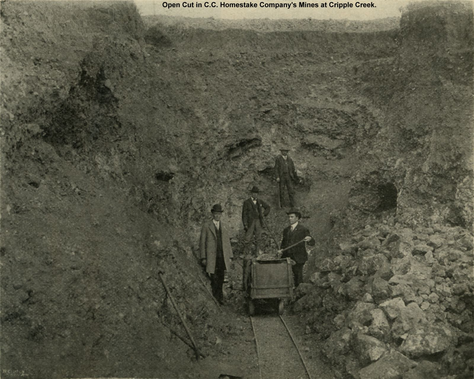 Open Cut in C. C. Homestake Company's Mines at Cripple Creek.