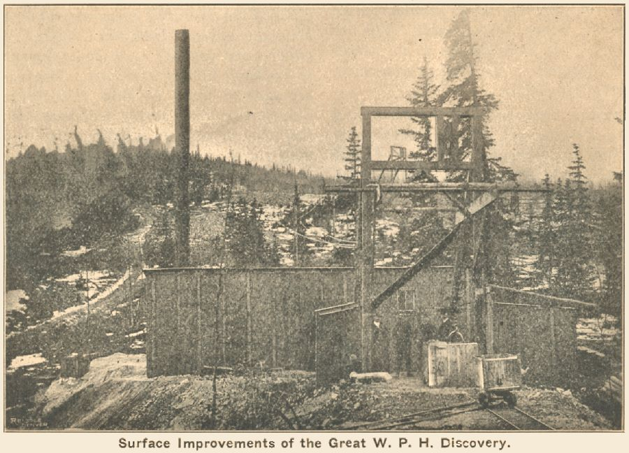 View of the Surface plant, head frame, hoist house of the W.P.H. Mine