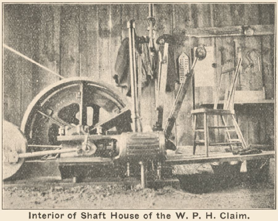 View of the interior of the hoist house of the W.P.H. Mine