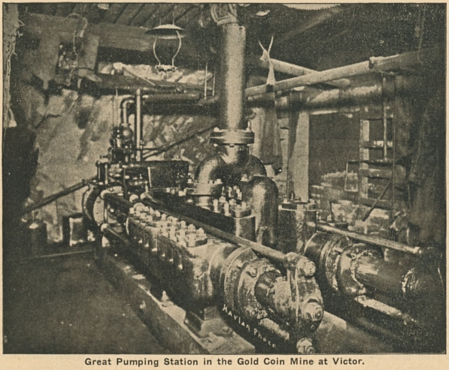I never seen any mention of what level of the Gold Coin Mine this pump was located, but what I know is that it been said that they used the Columbine-Victor tunnel to transport water in a pipe from the Gold Coin mine to the Economic mill, so possible this has been connected to that system?
