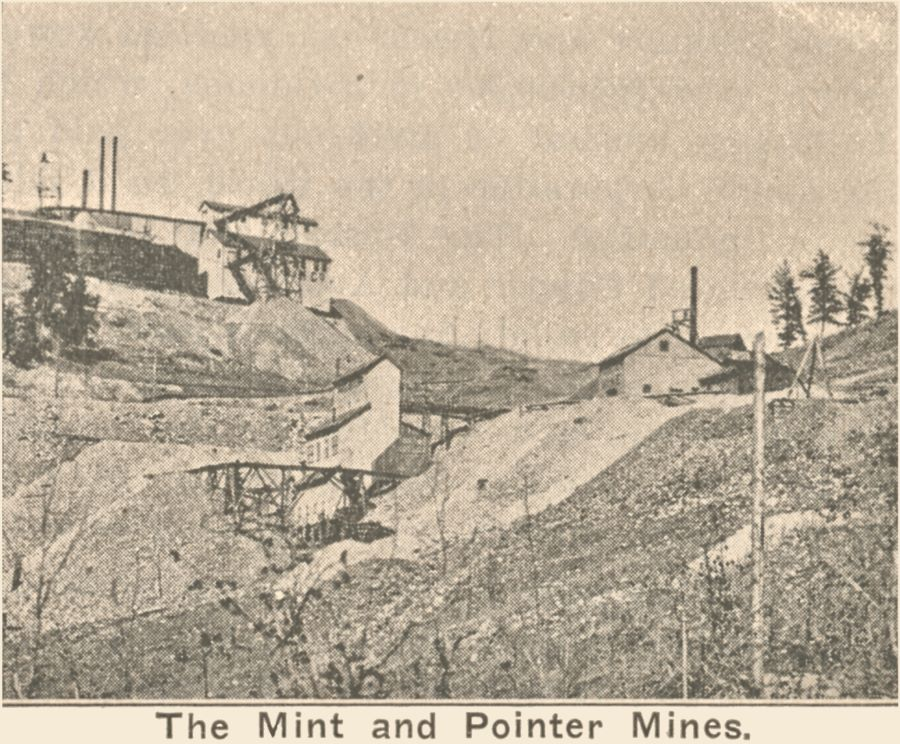 The Mint and Pointer Mines on lower Gold Hill