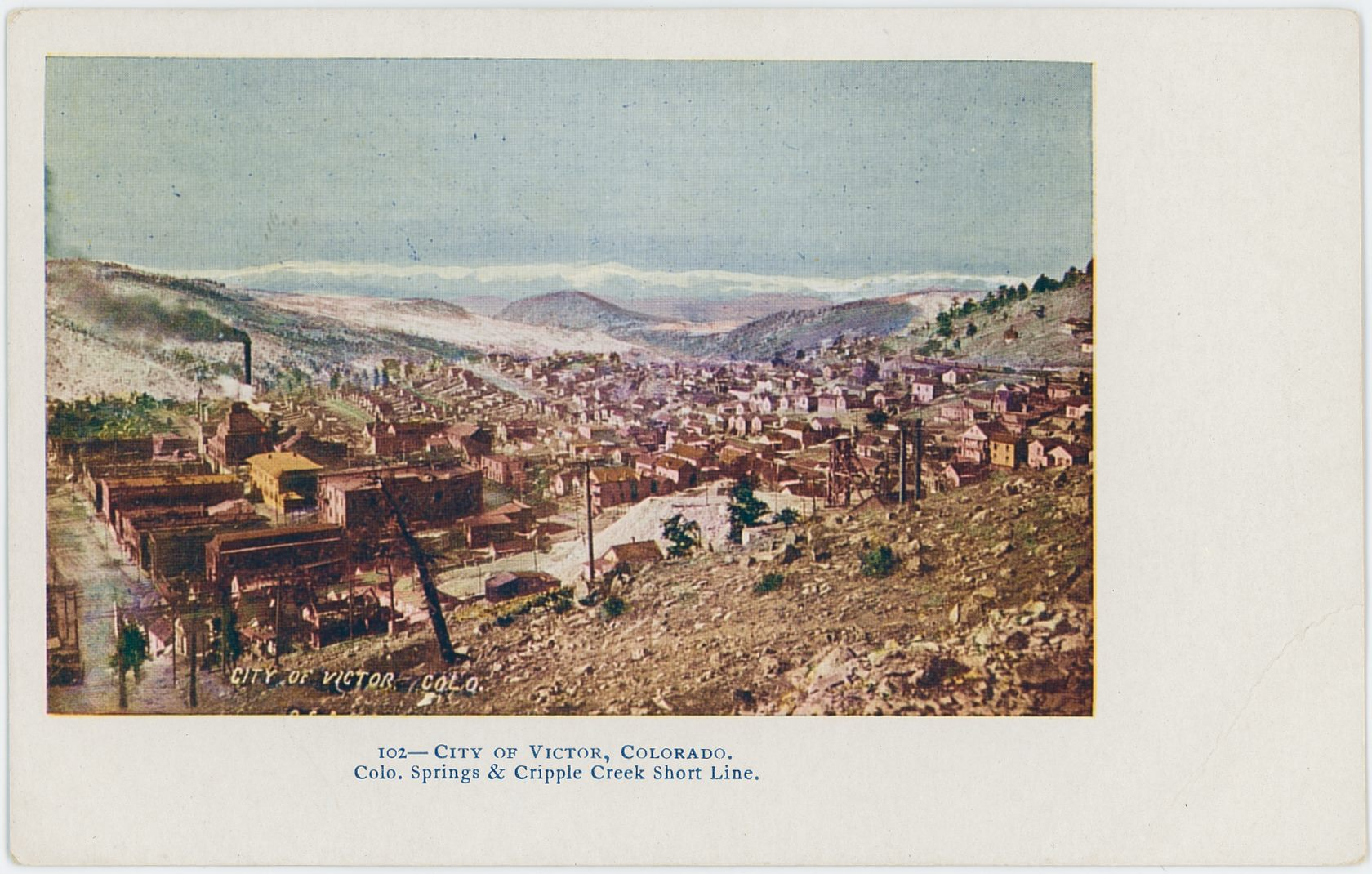 This photo is possible from 1904 as it appears in a book from that timeframe with a Copyright note of 1904 by Hook, the photographer. The town of Victor is seen from Battle Mountain, not exactly sure where, but at left-hand side is the Fourth Street seen. The Gold Coin Mine and Gold Coin Club is seen about 1/5 in from the left, and the mine structure partly hidden by the hill, with its double smokestack and head frame about 1/5 in from the right and 1/3 up from bottom is the north-east side of the Oliver shaft, or the main Dead Pine shaft, as confirmed by looking at the 1908 Sanborn Fire Insurance Map.