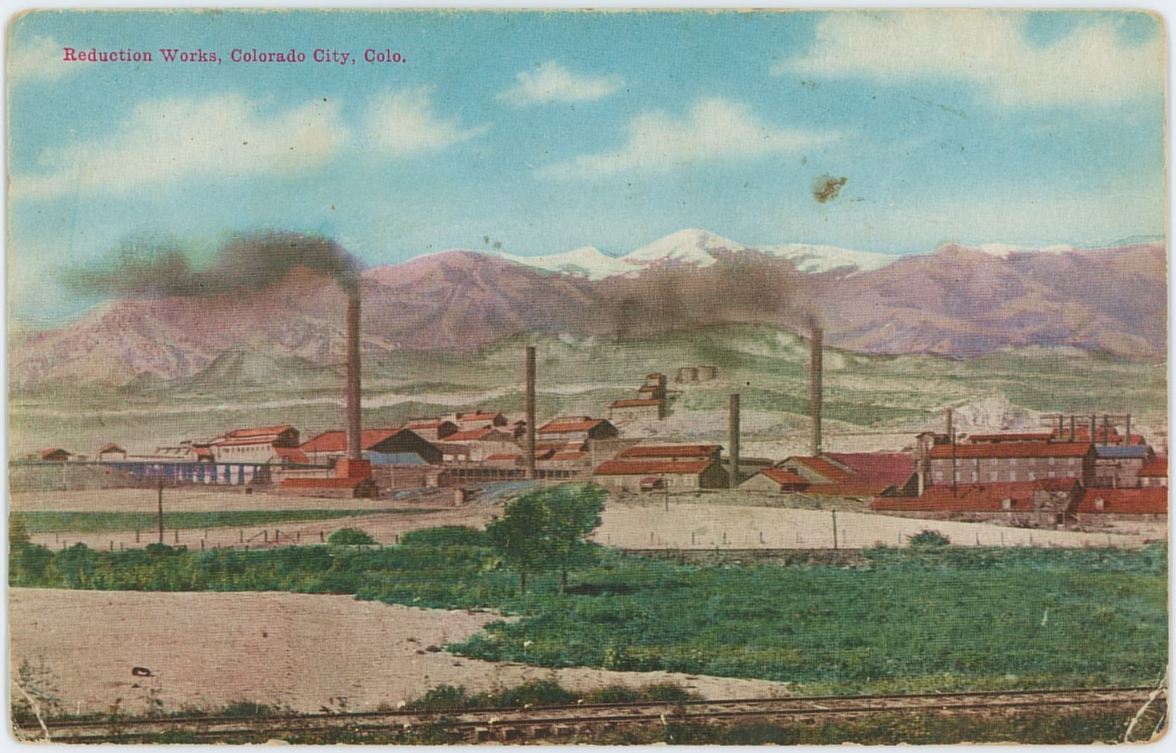 This postcard view of the massive Colorado-Philadelphia Mill, and the Standard Mill helps give the impression on how huge these mills can be, laying in the outskirts to the west of Colorado City, with what I believe is the mainline of the Colorado Midland seen along the bottom edge.    If I am correct the structures to the right are part of the Standard Mill, while the ones furthest away, left side of the card, those are the structures of the Colorado-Philadelphia Mill.